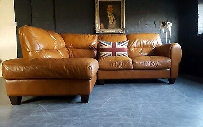 Chesterfield Vintage 3 Seater Tan Leather Club Corner Sofa Suite Courier