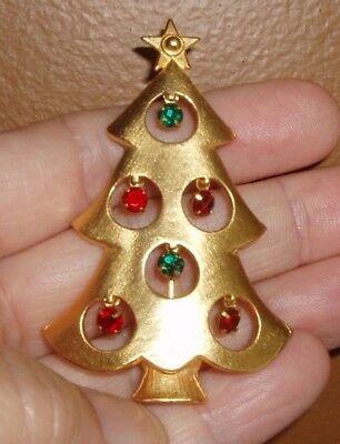 Vintage Gold Tone Christmas Tree Brooch w/ Dangling Red & Green Rhinestones