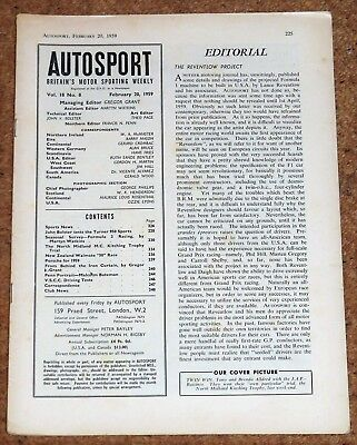 Autosport 20/2/59 (Missing Cover) 1958 F3 REVIEW - MONTE CARLO RALLY -TURNER 950