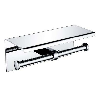Wincase SUS 304 Stainless Steel Double Toilet Paper Holder with Storage Shelf