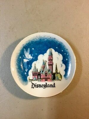 "Vintage Disneyland Castle and Tinkerbell 4"" Porcelain Dish w/Gold Trim-EXCELLENT"