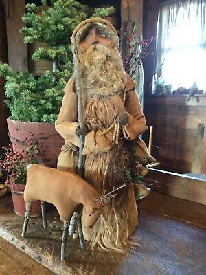 Primitive Christmas Leather Coat Outdoorsman Santa Claus with Reindeer