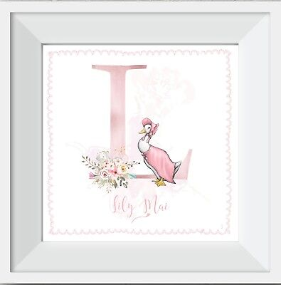 Personalised jemima puddleduck baby girl name print picture gift walldecor art