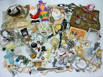 VTG Junk Drawer Jewelry Lot Sterling Pearl Necklace, Watch, Ring Pendant Harvest