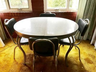 Vintage 1950's Dinette Dining Room Table Chrome Frame Formica w/ 4 Chairs