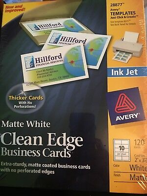 AVERY 28877 Matte White Ink Jet White Printable Business Cards 120 2x31/2