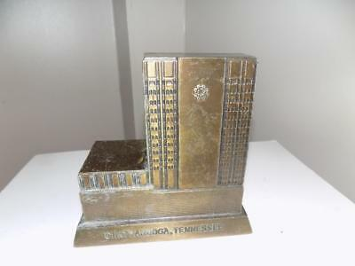 Art Deco Rare American National Bank/CHATTANOOGA TENNESSEE Brass Money Bank