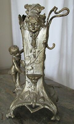 Antique Gothic Art Nouveau Devil, Child, Oak Pocket Watch Jewelry Display Stand