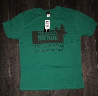 DUNDER MIFFLIN T SHIRT  Large -The Office TV Show Green Vintage Style