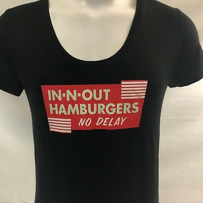 In-N-Out Burger California Women's T-shirt Large Black No Delay Rayon Spandex