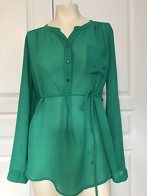 A Pea In The Pod Maternity Size Small Kelly Green Sheer Dress Blouse