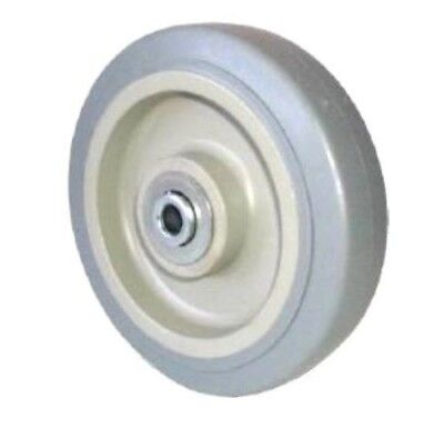 "Gray Soft Rubber (Non Marking) 5""x1-1/4"" Wheel with Annular Bearing 3/8"" ID"