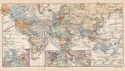 Antique map. WORLD TRANSPORT SHIPPING LINE MAP. c 1905