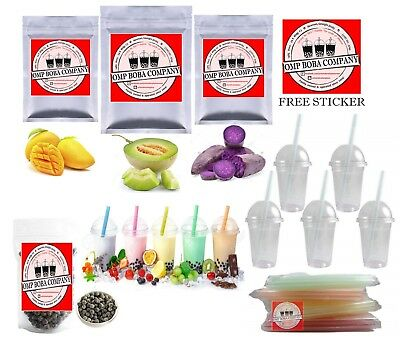 JUMBO Boba Bubble Tea Kit DIY Makes 30+ Drinks MANGO TARO HONEYDEW cups + straws