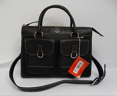 NWT Dooney & Bourke Black Pebbled Leather Double Front Pocket Tote R300C