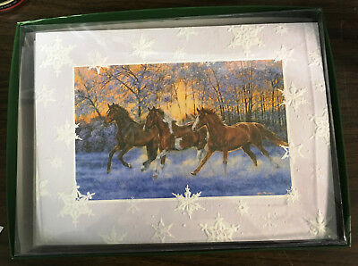New Leanin' Tree Boxed Embrossed Christmas Cards Running Horses Snow Envelopes