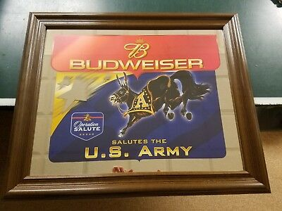 Vintage Collectible Budweiser Salutes the U.S. Army Mirror New