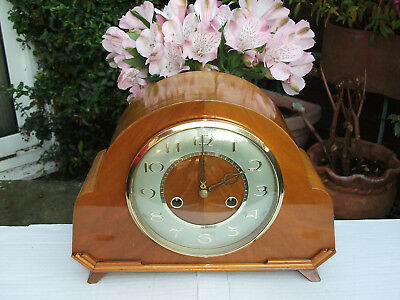 Stunning Smiths Cherry Case 8 Day Striking Mantel Clock. 1957. Fully Overhauled.