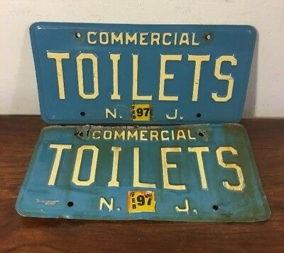 Vintage NJ New Jersey TOILETS Vanity License Plates Matching Pair Set