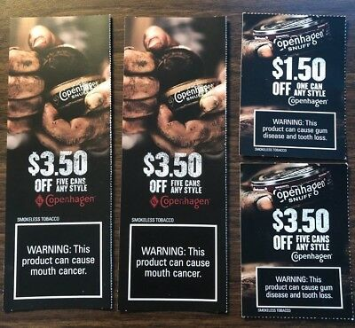 $12.00 Value / 4 Coupons - Copenhagen Tobacco/snuff