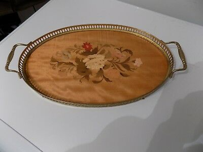 "Italian Vintage  "" Attardi "" Sorrento Italy Inlaid Wood With Gilt Gallery Tray."