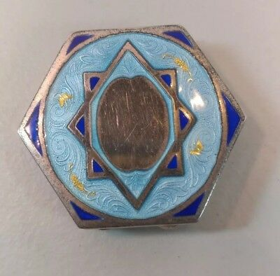 Vintage 1920's Star of David ENAMEL Makeup Compact NEVER USED MINT!