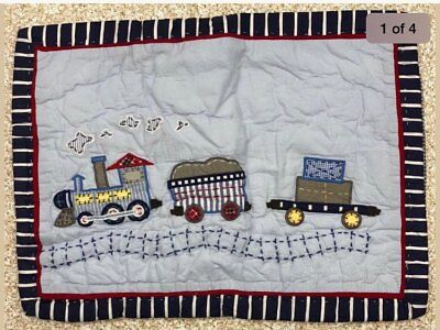 POTTERY BARN KIDS Logan TRAIN Quilted Blue CRIB SIZE Small Pillow Sham NEW