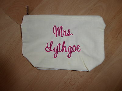 Personalised Embroidered Bride Bridesmaid Make Up Cosmetic Wash Bag Wedding Gift