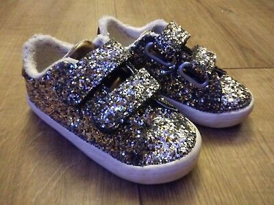 Baby girl toddler Shoes Size 5 From next glitter Converse Style Velcro Sequin