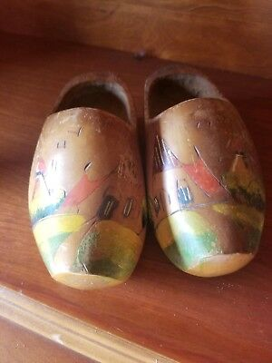 Vintage Hand Carved & Painted Pair Dutch Wooden Shoes Made in Holland
