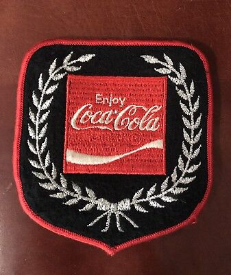 Enjoy Coca-Cola Red White Logo With Silver Wreath Embroidered Patch Memorabilia