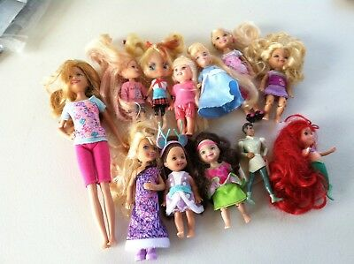 """Lot Of 12 Assorted Dolls - All Are Dressed - Some Have Shoes - 4"""" To 9 """""""