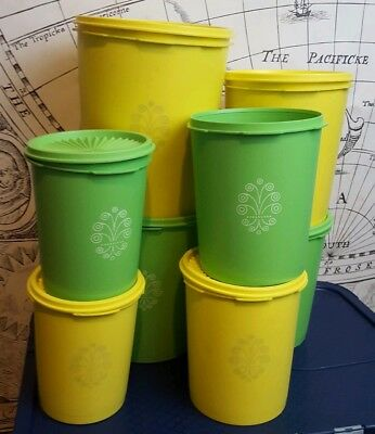 Vintage Green Yellow nesting Tupperware servalier canisters set of 15 SHIPS FREE