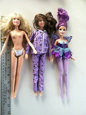 """Lot Of 3 Dolls - 11"""" - Brands Unknown - 2 Dressed No Shoes-Brown,purple & Blonde"""
