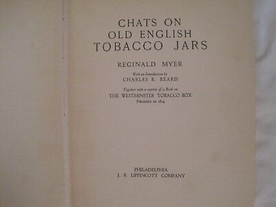 CHATS ON OLD ENGLISH TOBACCO JARS by REGINALD MYER HARDCOVER  U K EDITION