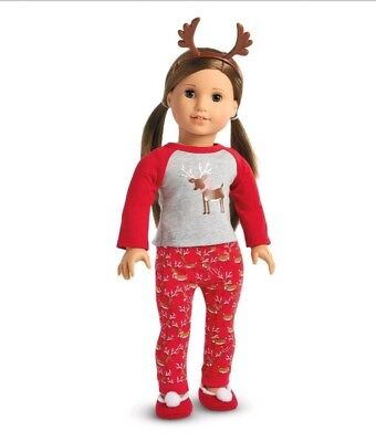"American Girl Festive Reindeer Pajamas 18"" Doll New Christmas Winter Holiday"