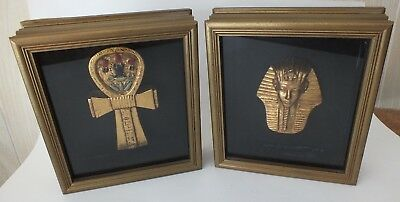Two Framed Egyptian Figures Gold Color King Tut Mask & Ancient Egyptian Ankh