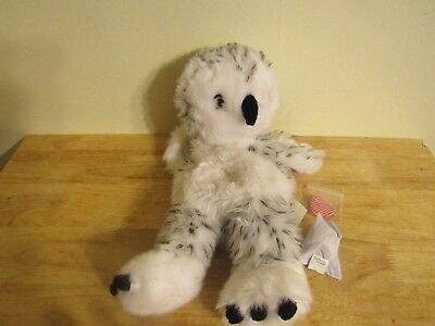 build a bear unstuffed gray white owl turn head with sound and heart 15'' 2010