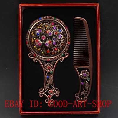 Chinese Antique Brass Hollow Carved Makeup Mirror & Comb Set Gift Box G33