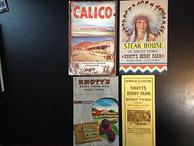 4 piece Knott's Berry Farm Ghost Town, and Calico ephemera and menus