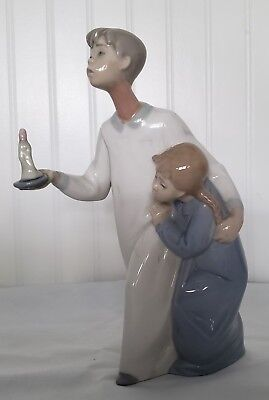 Lladro Boy in Nightshirt with Girl and Candle #4874 Gloss finish