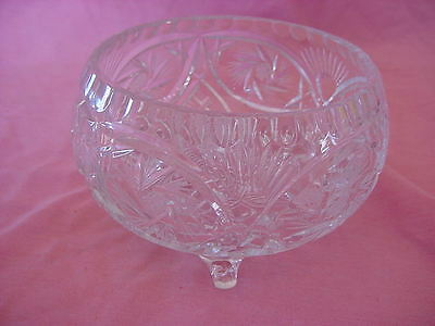 Stunning Lead Crystal Footed Bowl Vintage Clear Cut Glass Centerpiece