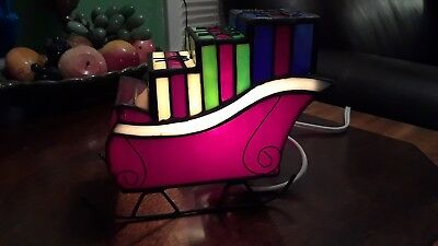 Stained Glass Art  Lamp In Original Box Christmas Sled Very Colorful & Pretty