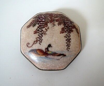 Antique MEIJI JAPANESE SATSUMA PORCELAIN BROOCH - PURPLE WISTERIA DUCK POND