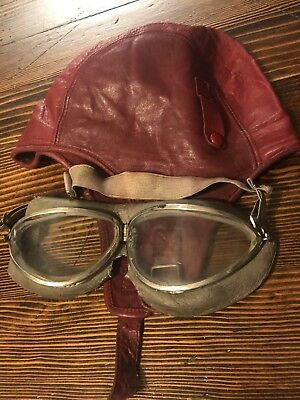 Aviator Skull Cap and Goggles Vintage Antique