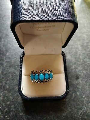 Sterling Silver Gold Plated Sleeping Beauty Turquoise Ring Size N