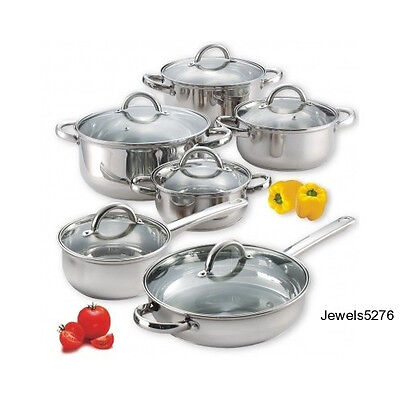 Cookware Set Stainless Steel Pots Pans Glass Lids Nu-wave Induction Compatible