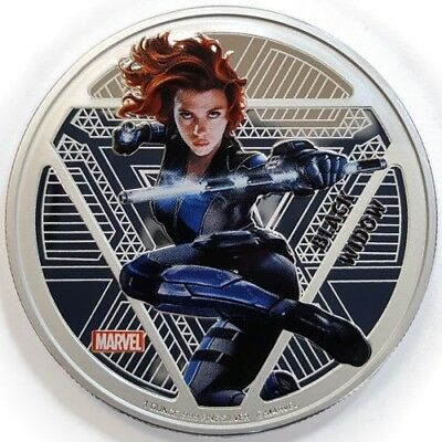 Fiji 2016 1Oz .999 Silver Marvel Black Widow Coin PROOF w/OGP, Only 3000 Color