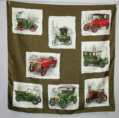Vintage Taupe Brown Antique Cars Automobile Print Large Silk Scarf