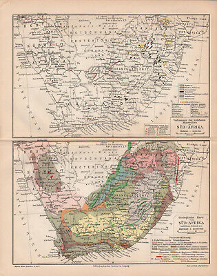 Antique map. GEOLOGICAL MAP OF SOUTH AFRICA. 1905